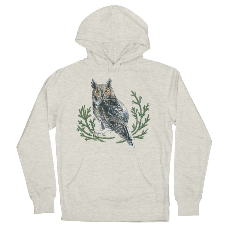 Great Horned Owl Men's French Terry Pullover Hoody by mwashburnart's Artist Shop