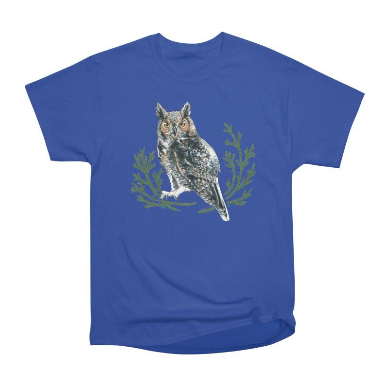 Great Horned Owl Women's Heavyweight Unisex T-Shirt by mwashburnart's Artist Shop