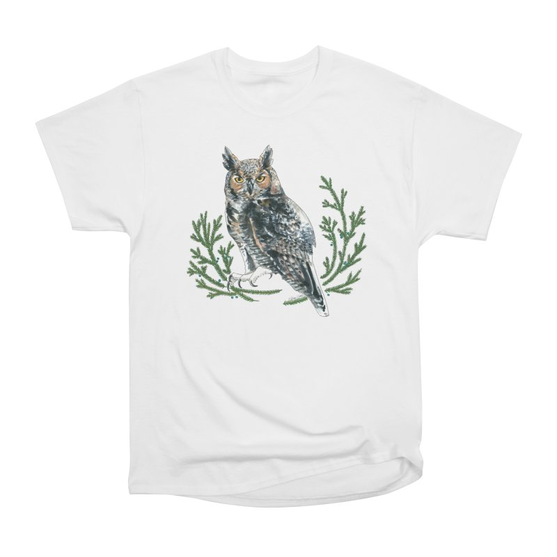 Great Horned Owl Men's Heavyweight T-Shirt by mwashburnart's Artist Shop