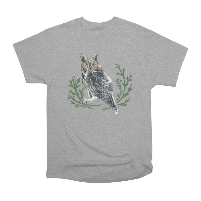Great Horned Owl Men's Heavyweight T-Shirt by mwashburnart's Artist Shop