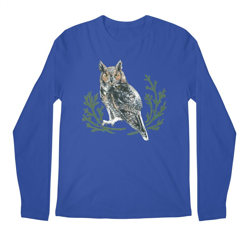 Great Horned Owl Men's Regular Longsleeve T-Shirt by mwashburnart's Artist Shop