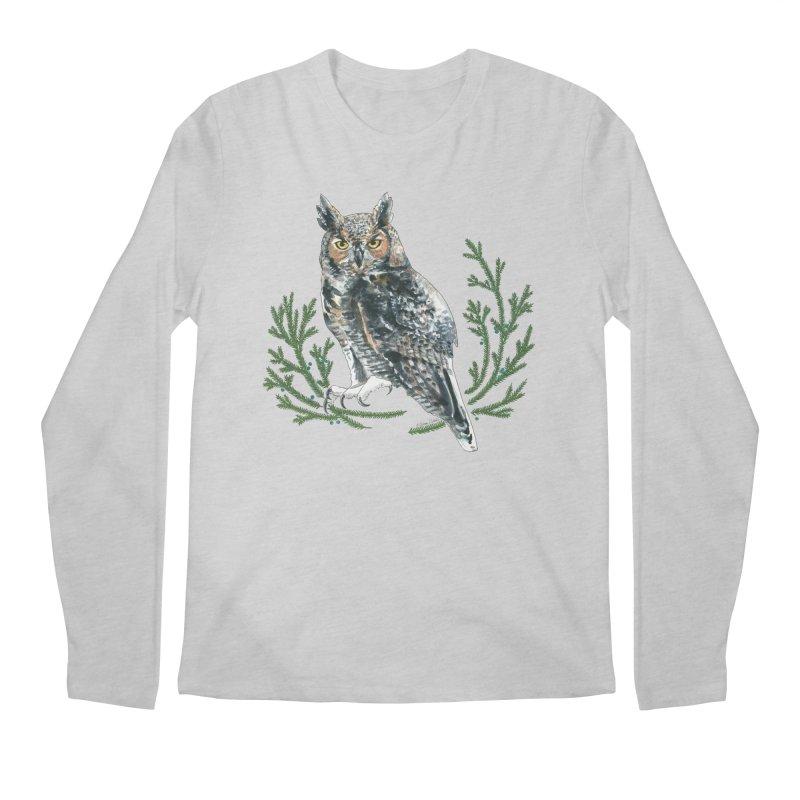 Great Horned Owl Men's Regular Longsleeve T-Shirt by mwashburnart's Artist Shop