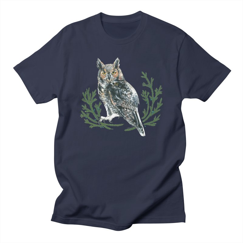 Great Horned Owl Men's Regular T-Shirt by mwashburnart's Artist Shop