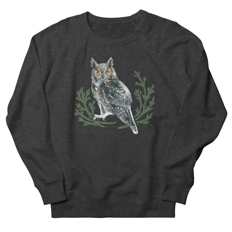 Great Horned Owl Women's French Terry Sweatshirt by mwashburnart's Artist Shop