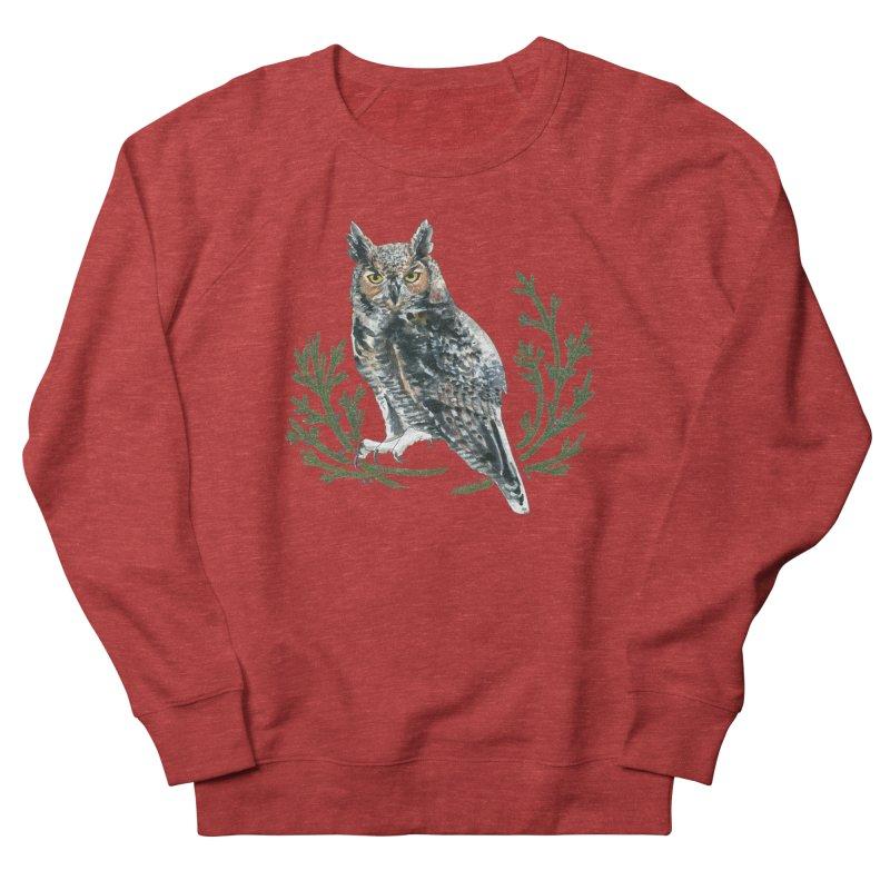 Great Horned Owl Women's French Terry Sweatshirt by mwashburnart's Artist Shop