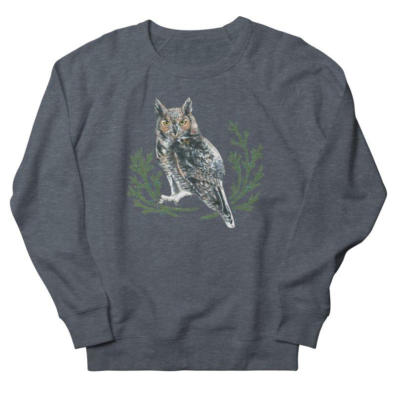 Great Horned Owl Men's French Terry Sweatshirt by mwashburnart's Artist Shop