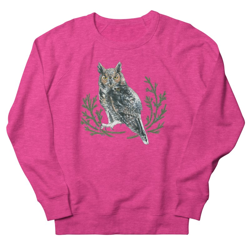Great Horned Owl Men's French Terry Sweatshirt by mwashburnart's Artist Shop