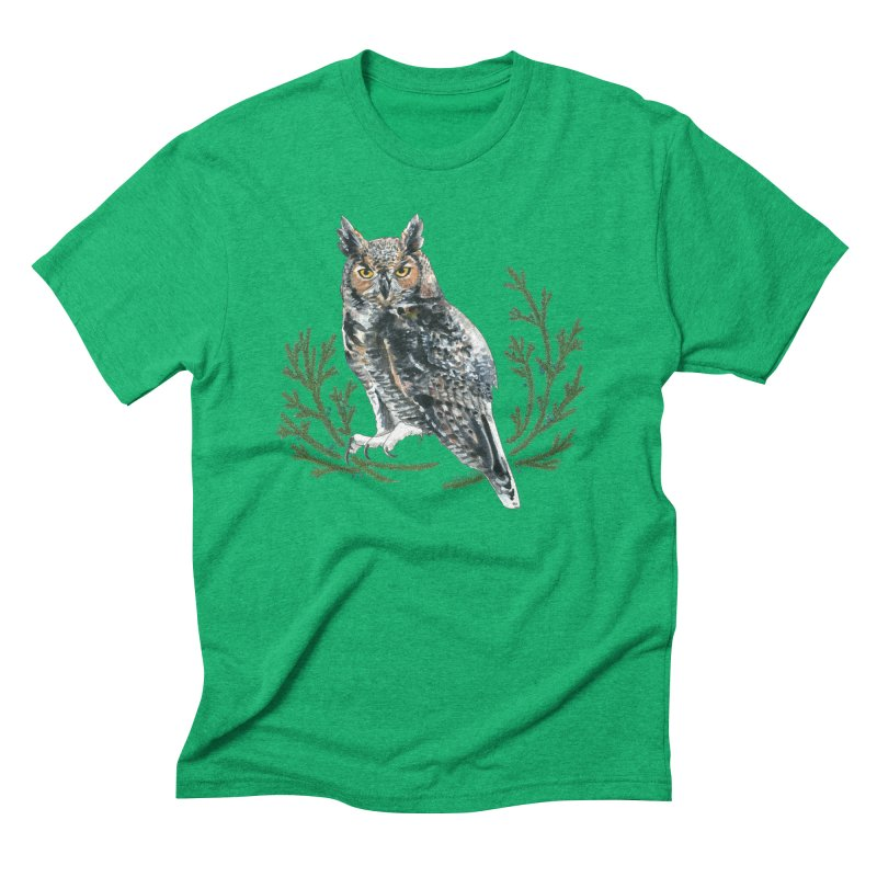 Great Horned Owl Men's Triblend T-Shirt by mwashburnart's Artist Shop
