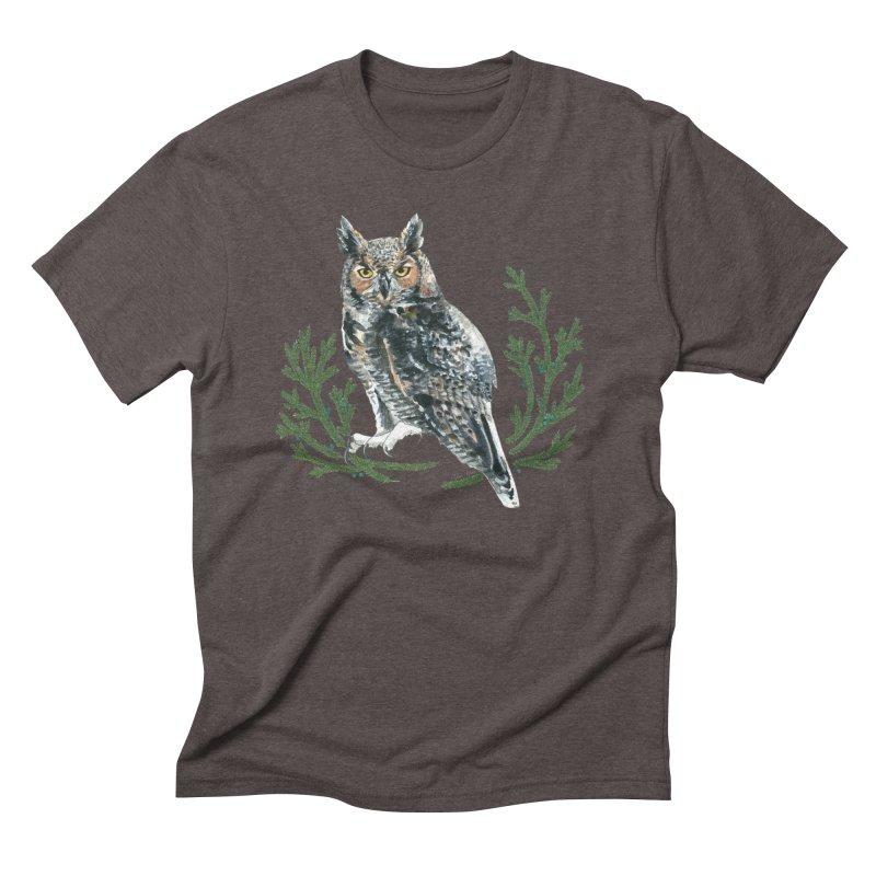 Great Horned Owl Men's Triblend T-Shirt by mwashburnart's Artist Shop
