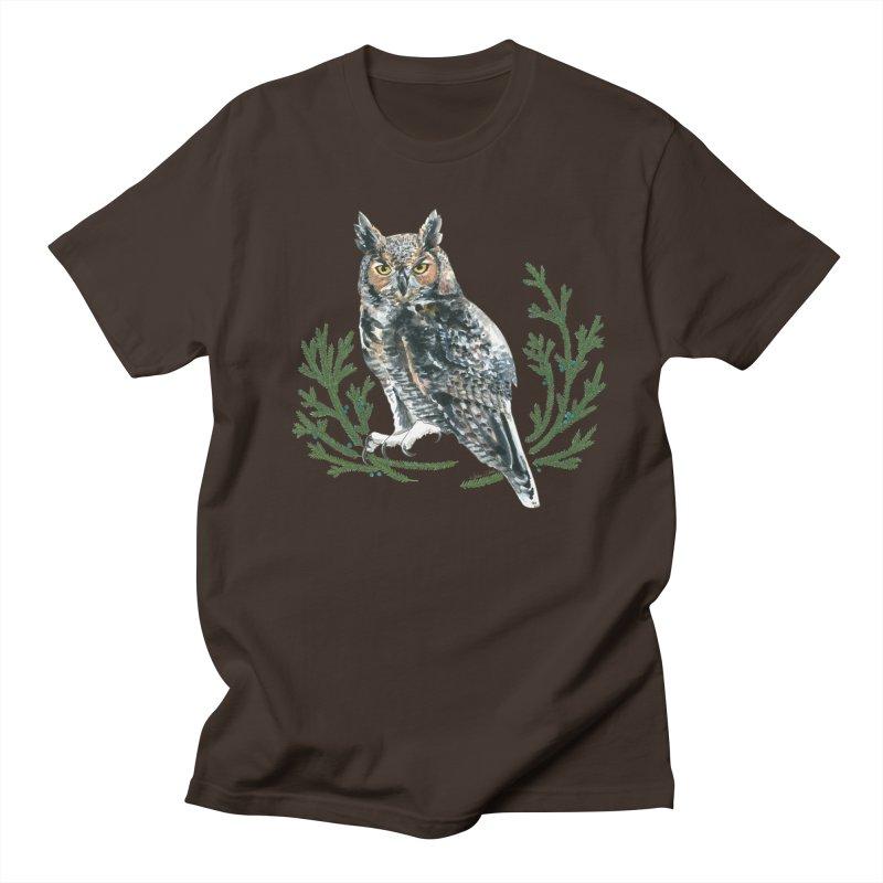 Great Horned Owl Men's Regular T-Shirt by mwashburnart's Artist Shop