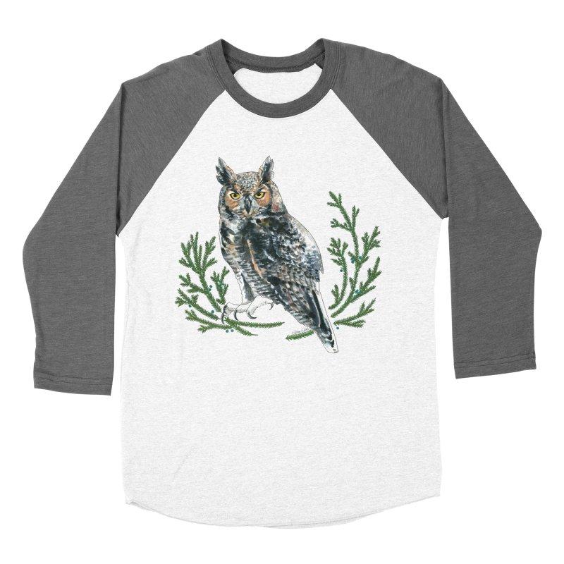 Great Horned Owl Women's Baseball Triblend Longsleeve T-Shirt by mwashburnart's Artist Shop