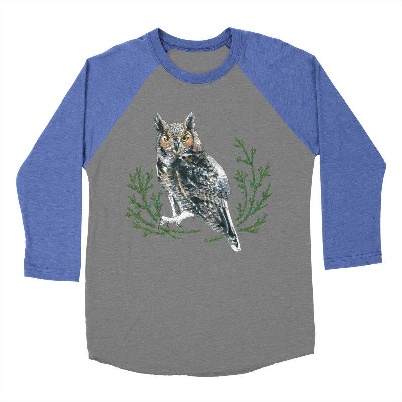 Great Horned Owl Men's Baseball Triblend Longsleeve T-Shirt by mwashburnart's Artist Shop