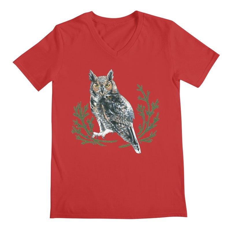 Great Horned Owl Men's Regular V-Neck by mwashburnart's Artist Shop
