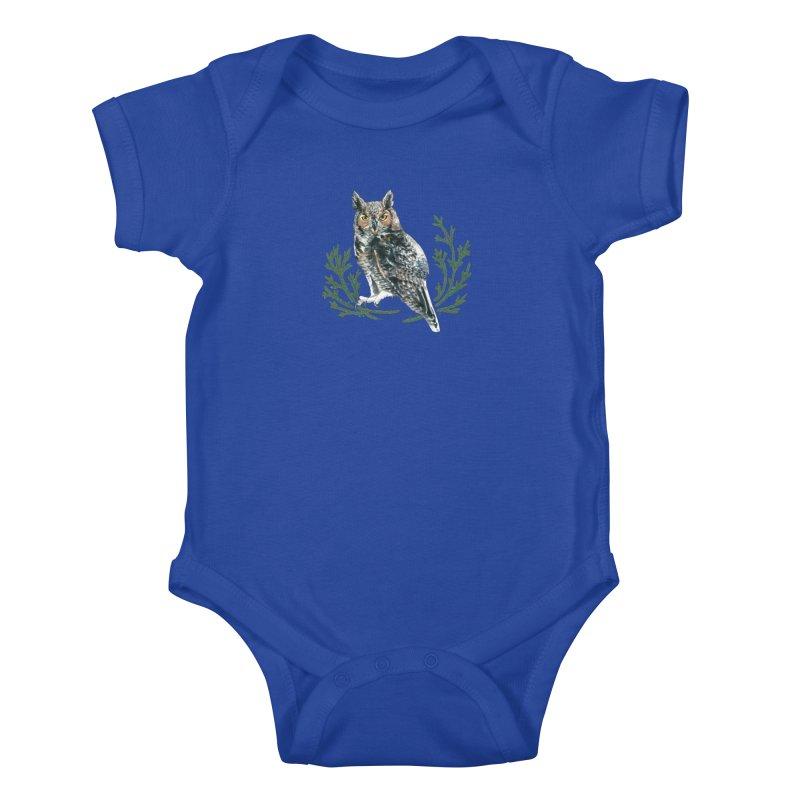 Great Horned Owl Kids Baby Bodysuit by mwashburnart's Artist Shop