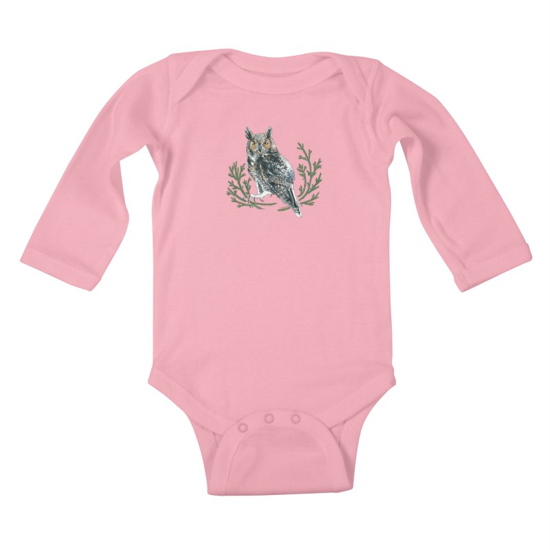 Great Horned Owl Kids Baby Longsleeve Bodysuit by mwashburnart's Artist Shop