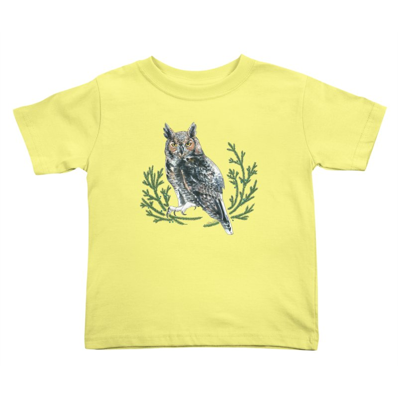 Great Horned Owl Kids Toddler T-Shirt by mwashburnart's Artist Shop