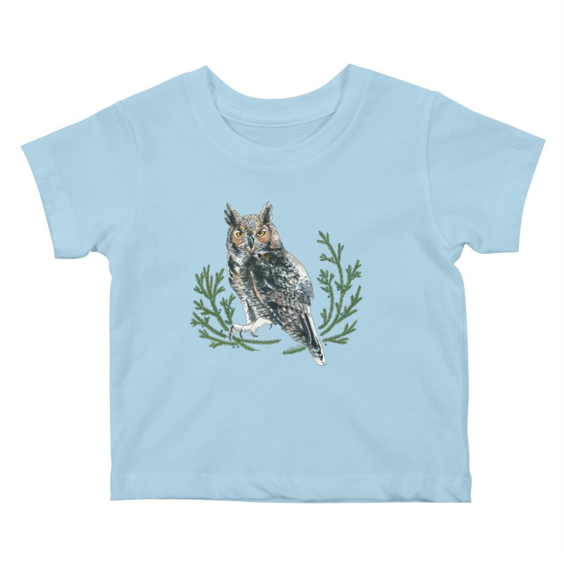 Great Horned Owl Kids Baby T-Shirt by mwashburnart's Artist Shop