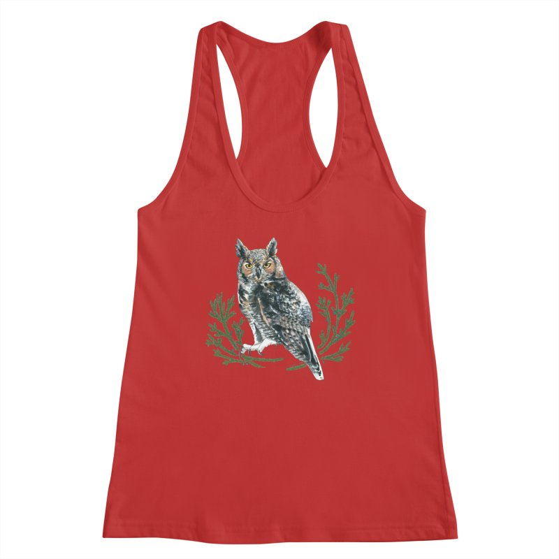 Great Horned Owl Women's Racerback Tank by mwashburnart's Artist Shop
