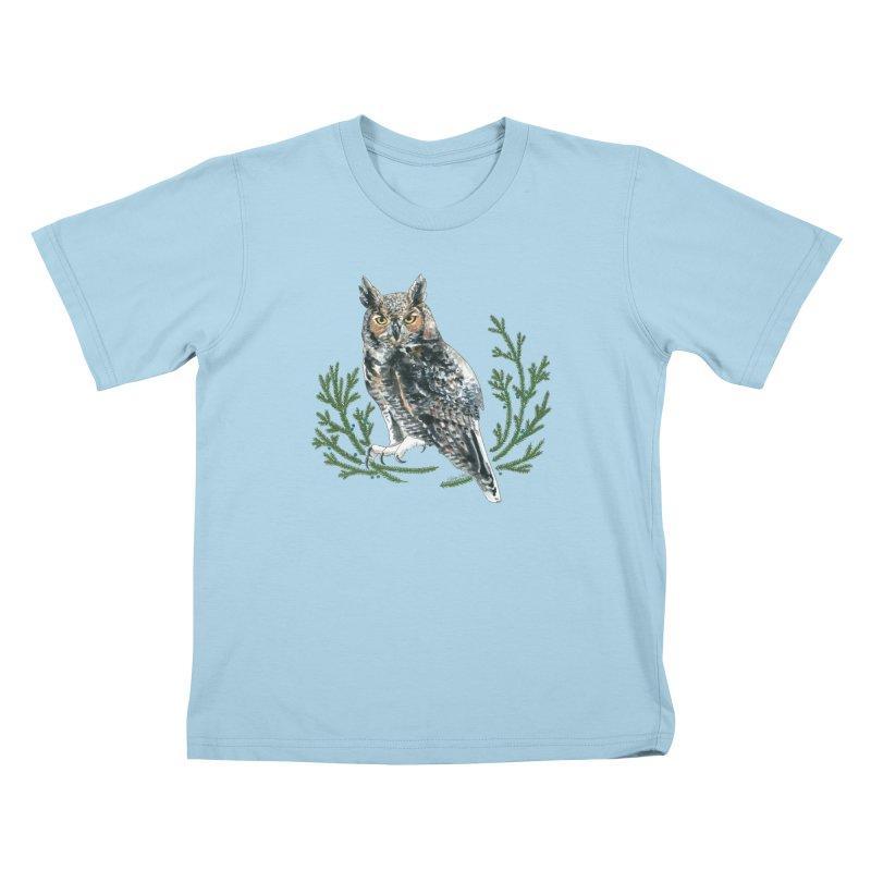 Great Horned Owl Kids T-Shirt by mwashburnart's Artist Shop