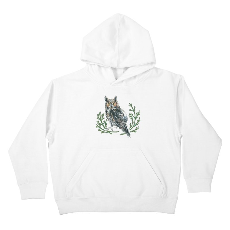 Great Horned Owl Kids Pullover Hoody by mwashburnart's Artist Shop
