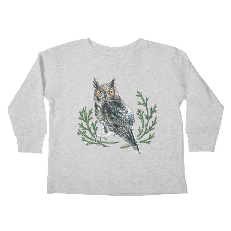 Great Horned Owl Kids Toddler Longsleeve T-Shirt by mwashburnart's Artist Shop