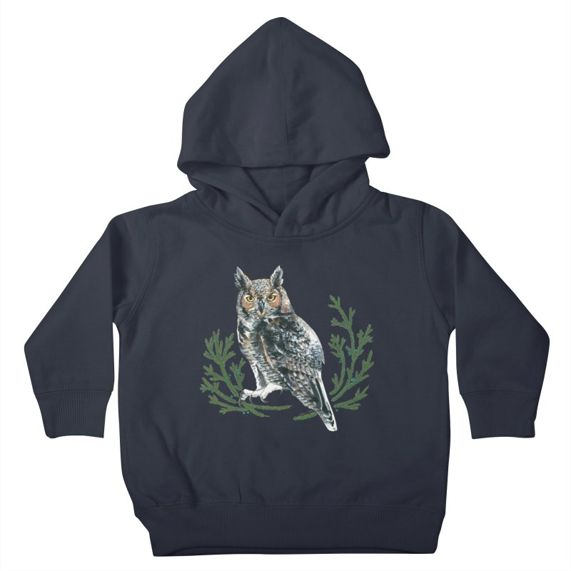 Great Horned Owl Kids Toddler Pullover Hoody by mwashburnart's Artist Shop