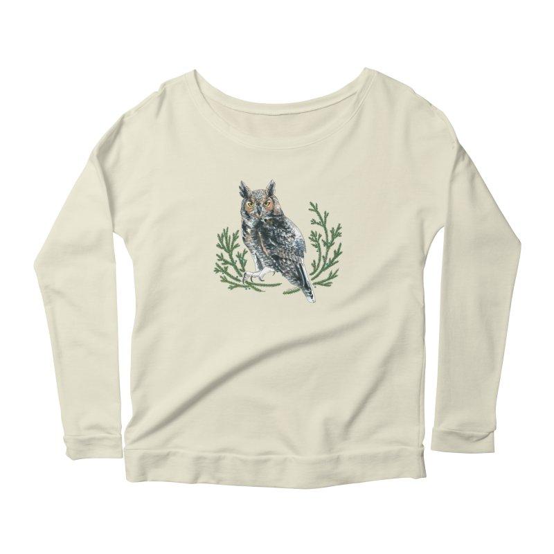 Great Horned Owl Women's Scoop Neck Longsleeve T-Shirt by mwashburnart's Artist Shop