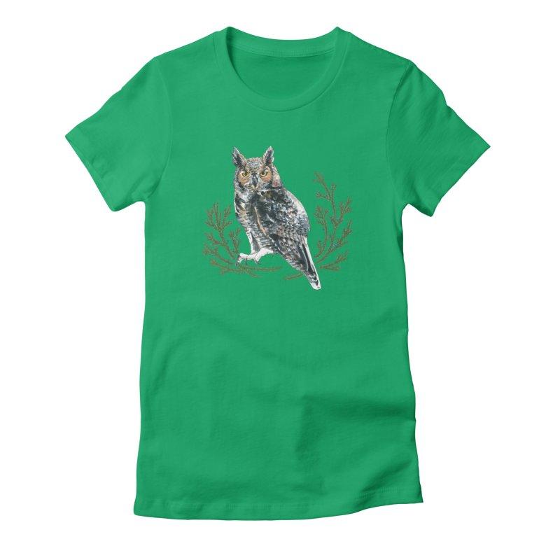 Great Horned Owl Women's Fitted T-Shirt by mwashburnart's Artist Shop