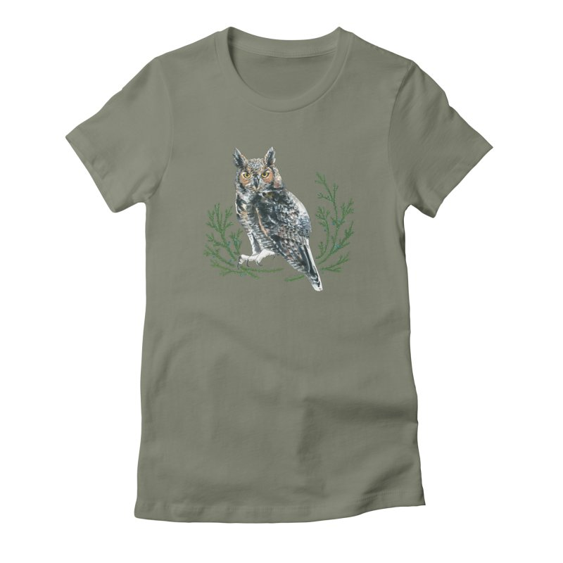 Great Horned Owl Women's Fitted T-Shirt by mwashburnart's Artist Shop
