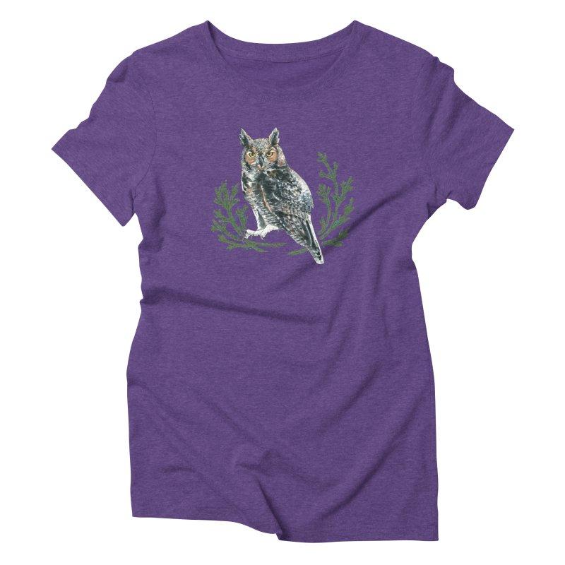 Great Horned Owl Women's Triblend T-Shirt by mwashburnart's Artist Shop