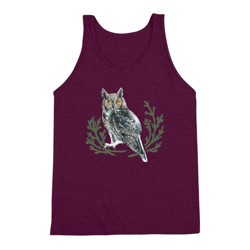 Great Horned Owl Men's Triblend Tank by mwashburnart's Artist Shop