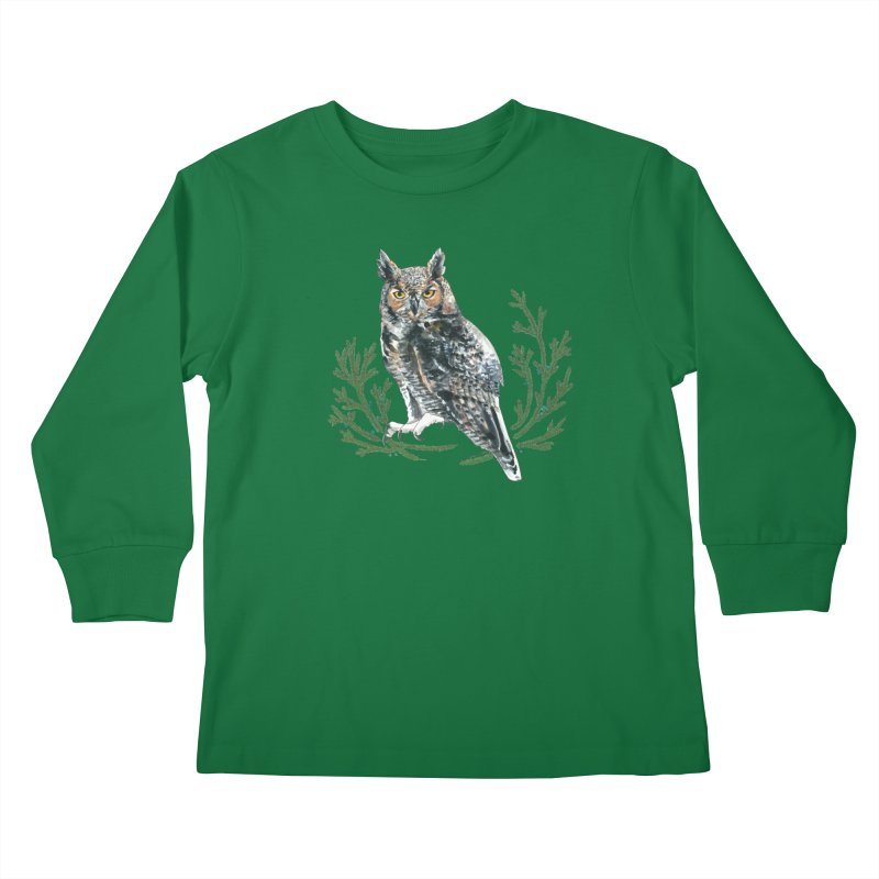 Great Horned Owl Kids Longsleeve T-Shirt by mwashburnart's Artist Shop
