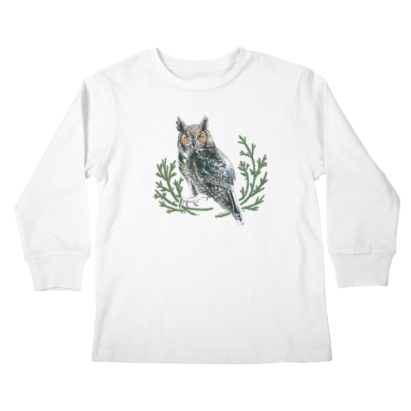 Great Horned Owl Kids Longsleeve T-Shirt by mwashburnart's Artist Shop