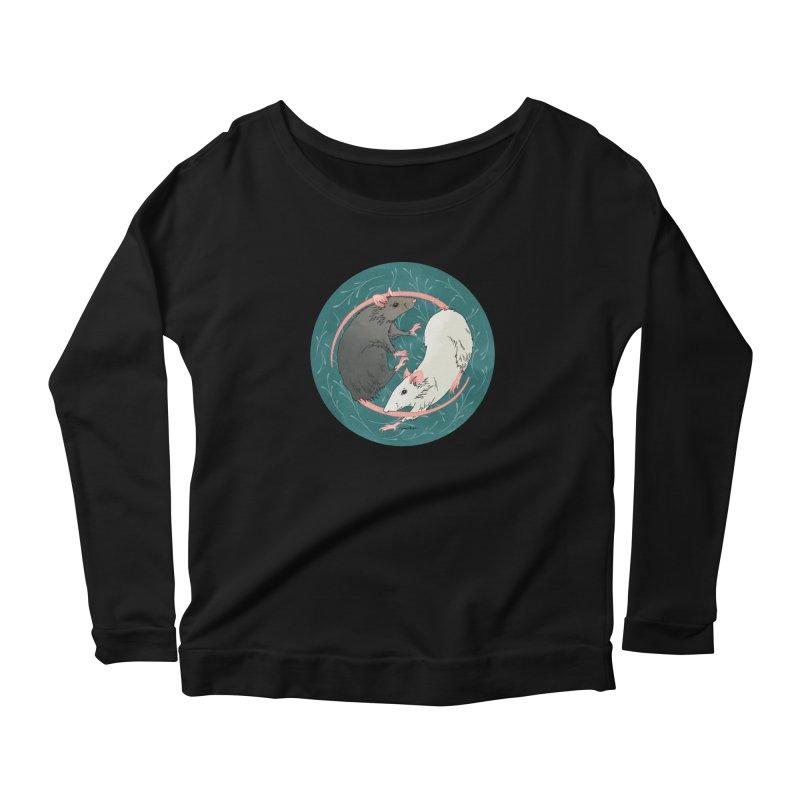 Yin and Yang Rats Women's Scoop Neck Longsleeve T-Shirt by mwashburnart's Artist Shop