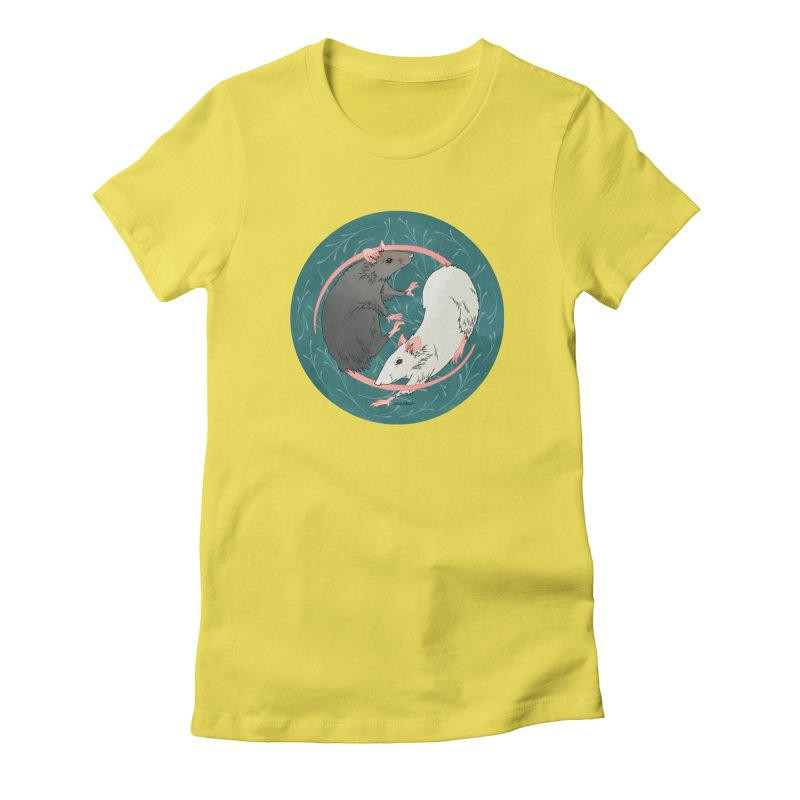 Yin and Yang Rats Women's Fitted T-Shirt by mwashburnart's Artist Shop