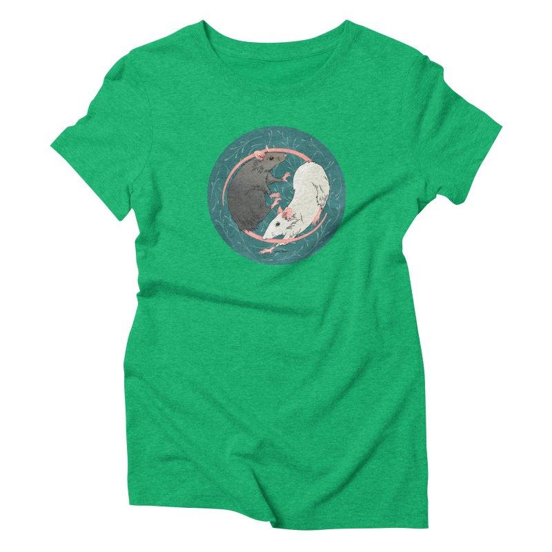 Yin and Yang Rats Women's Triblend T-Shirt by mwashburnart's Artist Shop