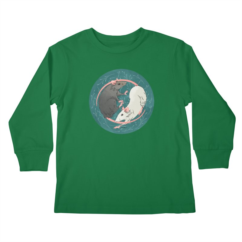 Yin and Yang Rats Kids Longsleeve T-Shirt by mwashburnart's Artist Shop