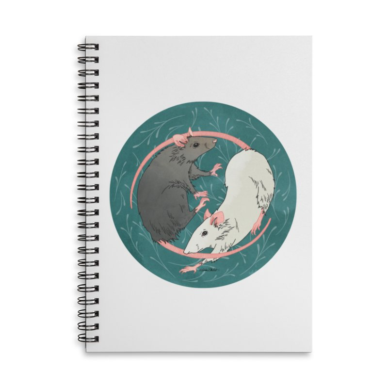 Yin and Yang Rats Accessories Lined Spiral Notebook by mwashburnart's Artist Shop
