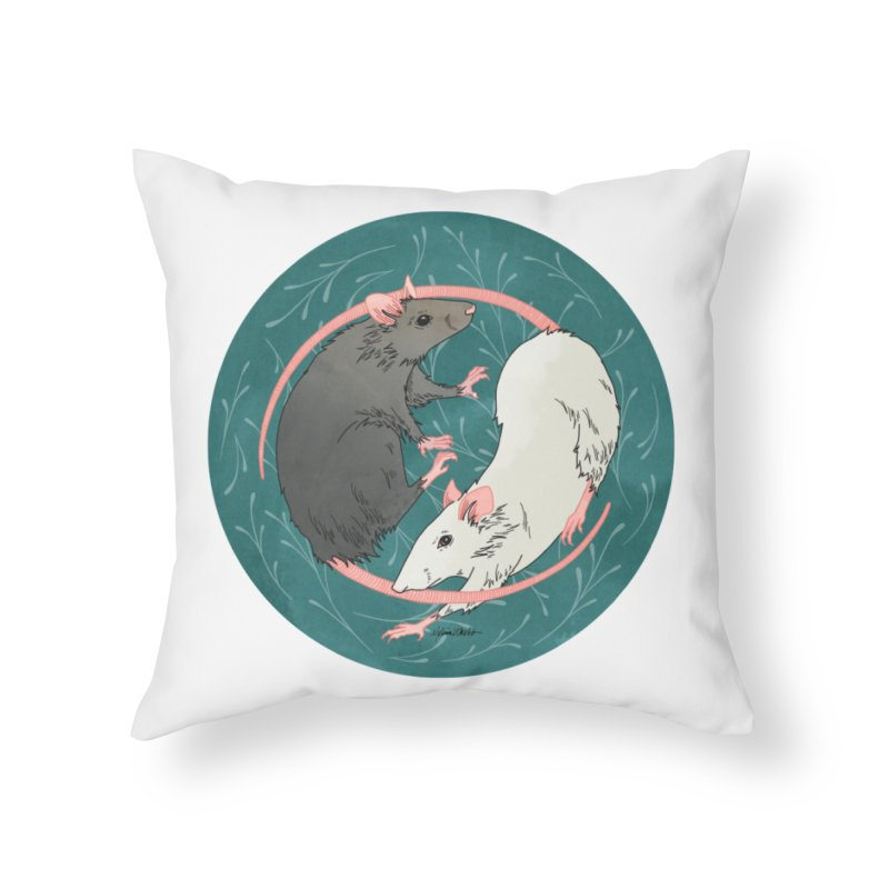 Yin and Yang Rats Home Throw Pillow by mwashburnart's Artist Shop