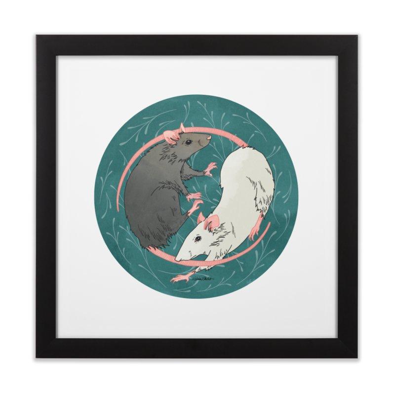 Yin and Yang Rats Home Framed Fine Art Print by mwashburnart's Artist Shop