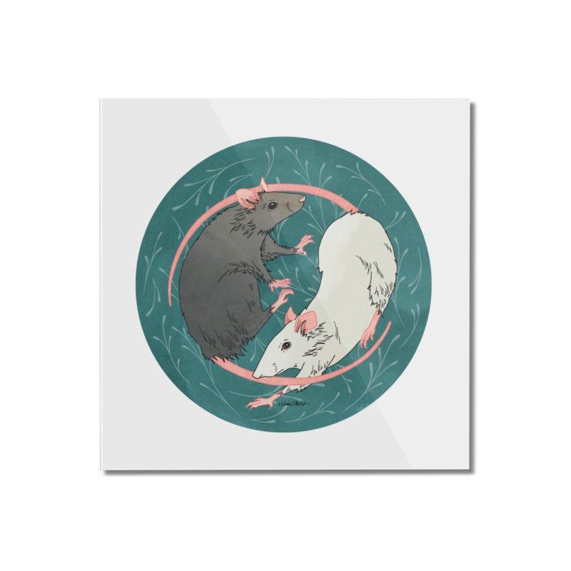 Yin and Yang Rats Home Mounted Acrylic Print by mwashburnart's Artist Shop