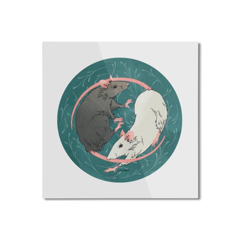 Yin and Yang Rats Home Mounted Aluminum Print by mwashburnart's Artist Shop