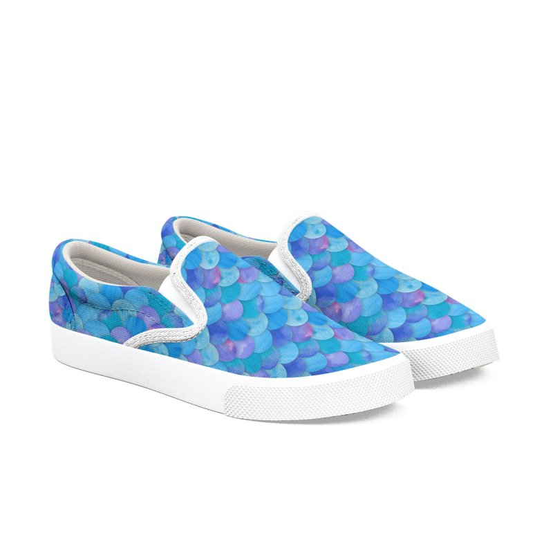 Blue Watercolor Mermaid Scales Men's Slip-On Shoes by mwashburnart's Artist Shop