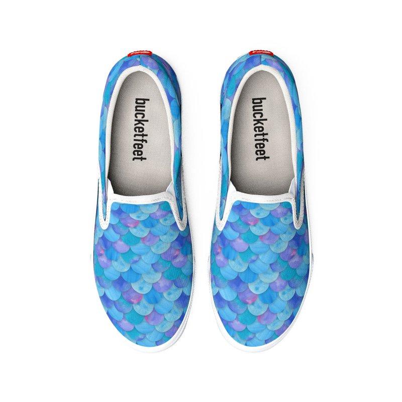 Blue Watercolor Mermaid Scales Men's Shoes by mwashburnart's Artist Shop