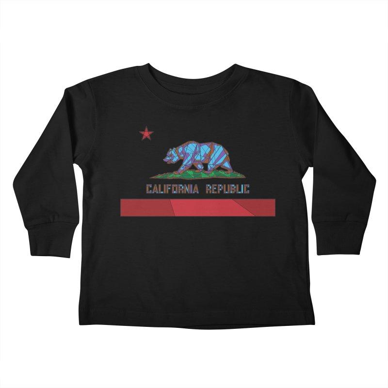 California Bear Flag Kids Toddler Longsleeve T-Shirt by MXMINK
