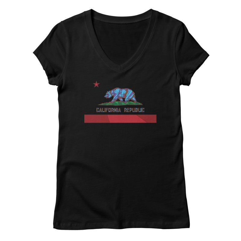 California Bear Flag Women's V-Neck by MXMINK