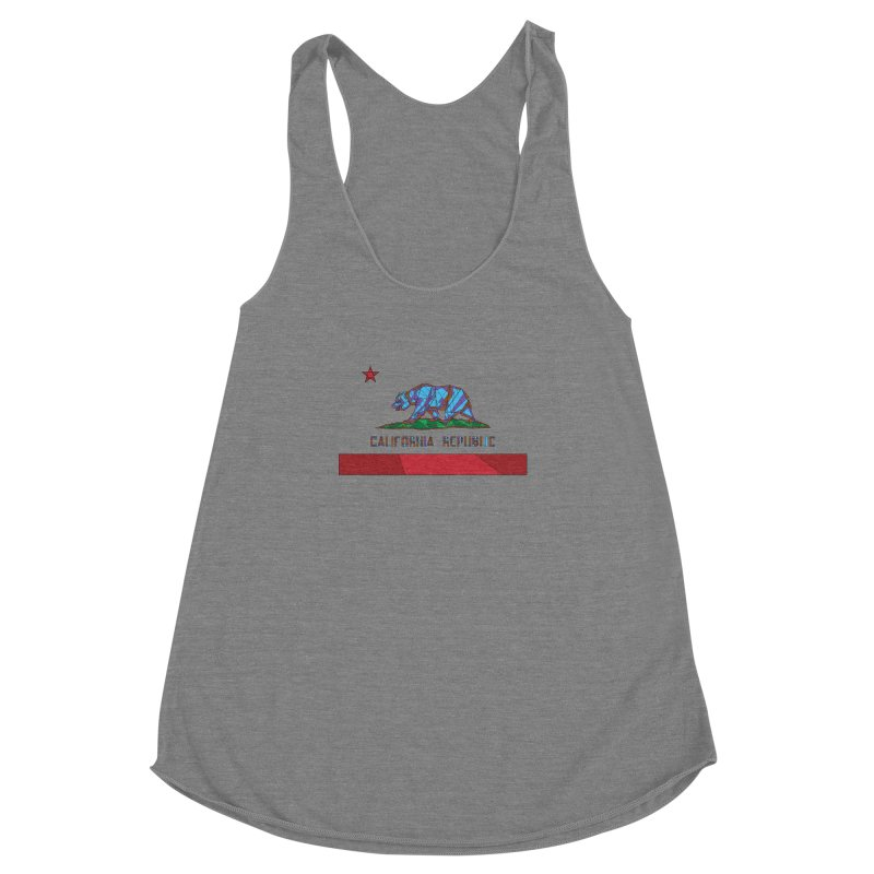 California Bear Flag Women's Racerback Triblend Tank by MXMINK