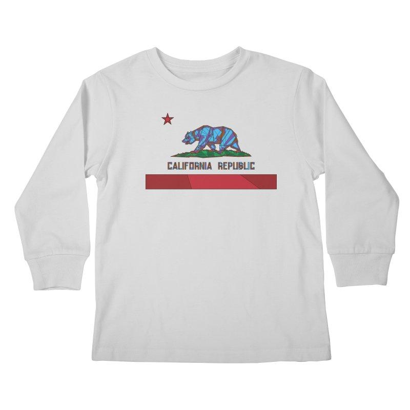 California Bear Flag Kids Longsleeve T-Shirt by MXMINK