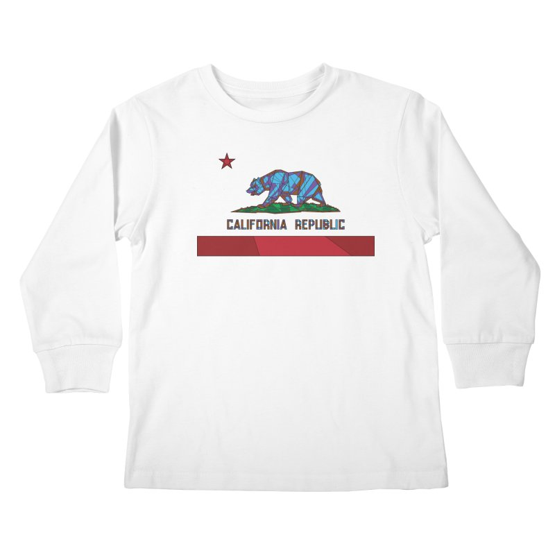 California Bear Flag Kids Longsleeve T-Shirt by MXMINK