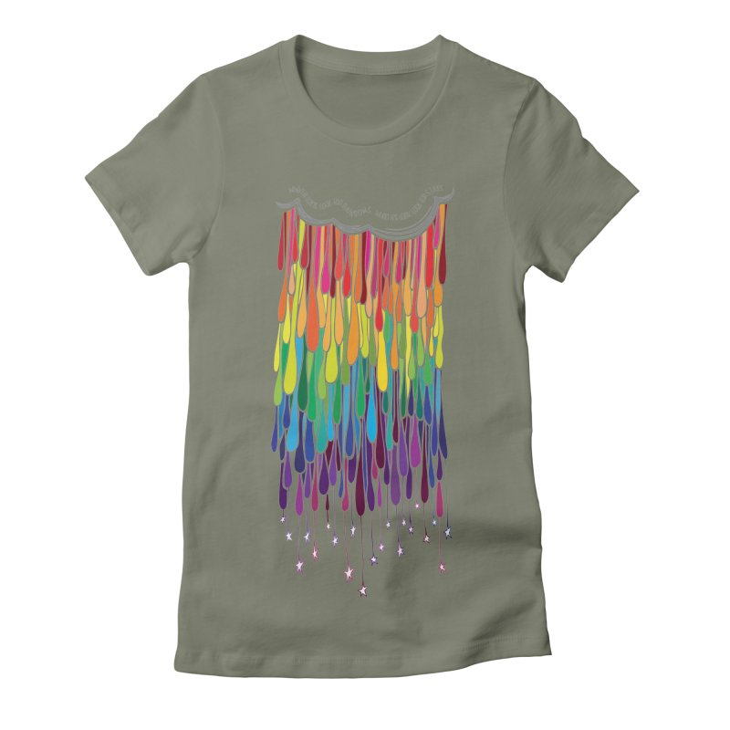 When It Rains Women's Fitted T-Shirt by MXMINK
